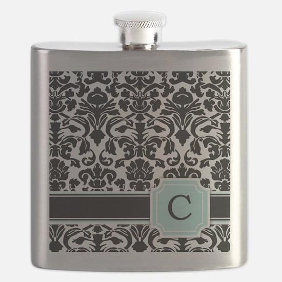 Letter C Black Damask Personal Monogram Flask