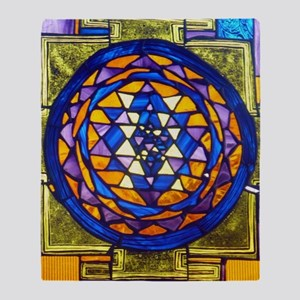Sri Yantra in Stained Glass Throw Blanket