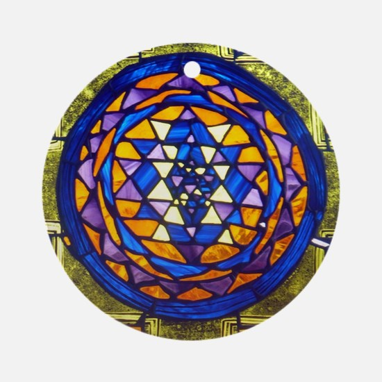 Sri Yantra in Stained Glass Round Ornament