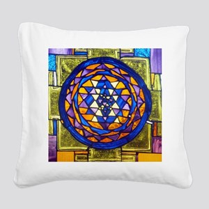 Sri Yantra in Stained Glass Square Canvas Pillow