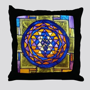 Sri Yantra in Stained Glass Throw Pillow