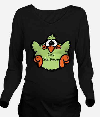 3-cluck-celiac-disease.png Long Sleeve Maternity T