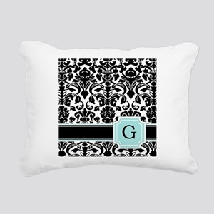 Letter G Black Damask Personal Monogram Rectangula