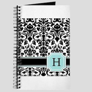 Letter H Black Damask Personal Monogram Journal