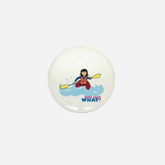 Girl Kayaking Medium Mini Button