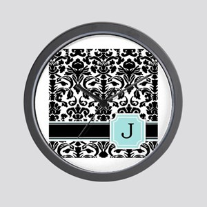 Letter J Black Damask Personal Monogram Wall Clock
