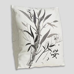 Bamboo Garden Burlap Throw Pillow