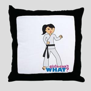 Martial Arts Girl - Ponytail Medium Throw Pillow