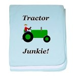 Green Tractor Junkie baby blanket