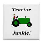 Green Tractor Junkie Tile Coaster