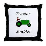 Green Tractor Junkie Throw Pillow