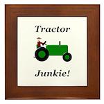 Green Tractor Junkie Framed Tile