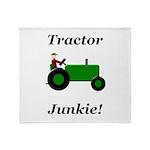 Green Tractor Junkie Throw Blanket