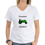 Green Tractor Junkie Women's V-Neck T-Shirt