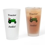 Green Tractor Junkie Drinking Glass