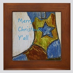 Merry Christmas Y'all Framed Tile