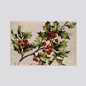 Vintage Christmas Holly  Rectangle Magnet