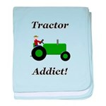 Green Tractor Addict baby blanket