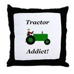 Green Tractor Addict Throw Pillow