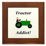 Green Tractor Addict Framed Tile