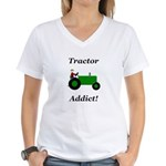 Green Tractor Addict Women's V-Neck T-Shirt