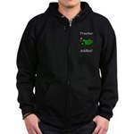 Green Tractor Addict Zip Hoodie (dark)