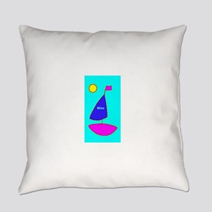 Sailboat Moon Turquoise 4Mike Everyday Pillow