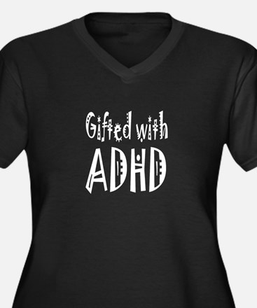Plus V-neck dark T-shirt for woman with ADHD