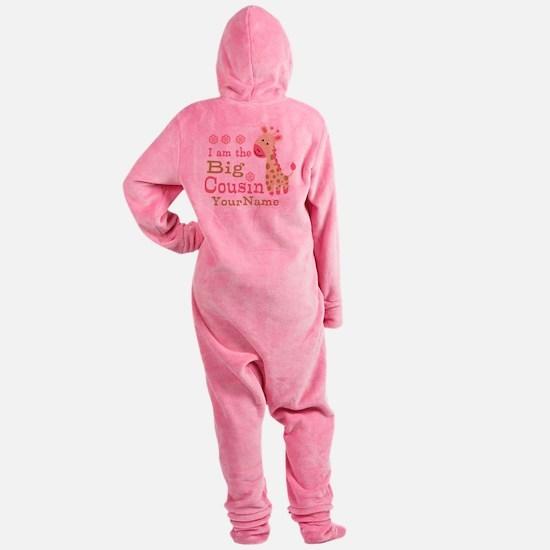 Pink Giraffe Big Cousin Personalized Footed Pajamas