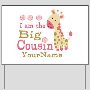Pink Giraffe Big Cousin Personalized Yard Sign