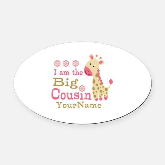 Pink Giraffe Big Cousin Personalized Oval Car Magn