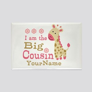 Pink Giraffe Big Cousin Personalized Rectangle Mag