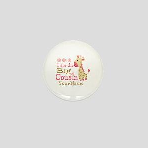 Pink Giraffe Big Cousin Personalized Mini Button