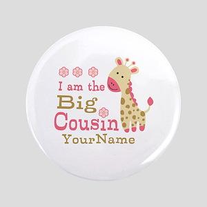 "Pink Giraffe Big Cousin Personalized 3.5"" Button"