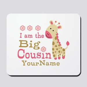 Pink Giraffe Big Cousin Personalized Mousepad