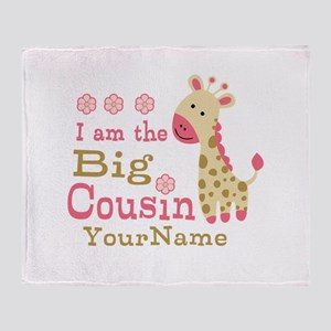 Pink Giraffe Big Cousin Personalized Throw Blanket