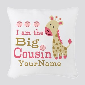 Pink Giraffe Big Cousin Personalized Woven Throw P