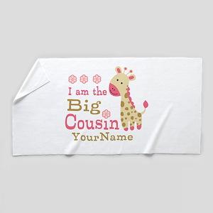 Pink Giraffe Big Cousin Personalized Beach Towel