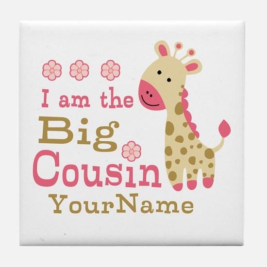 Pink Giraffe Big Cousin Personalized Tile Coaster