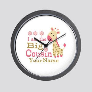 Pink Giraffe Big Cousin Personalized Wall Clock