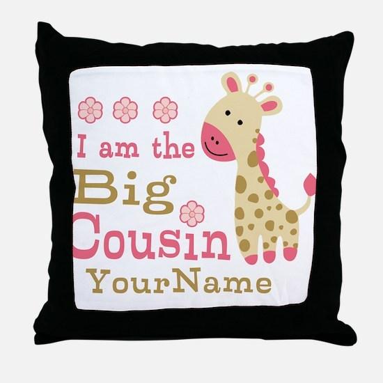 Pink Giraffe Big Cousin Personalized Throw Pillow