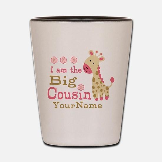 Pink Giraffe Big Cousin Personalized Shot Glass
