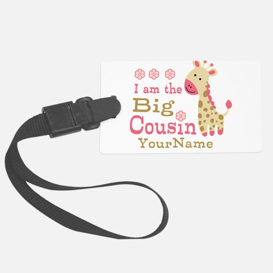 Pink Giraffe Big Cousin Personalized Luggage Tag