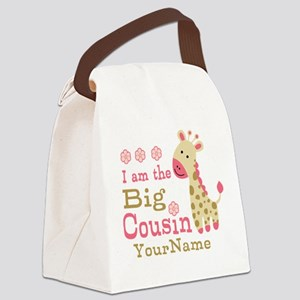 Pink Giraffe Big Cousin Personalized Canvas Lunch