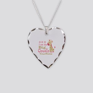 Pink Giraffe Big Cousin Personalized Necklace Hear
