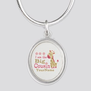 Pink Giraffe Big Cousin Personalized Silver Oval N