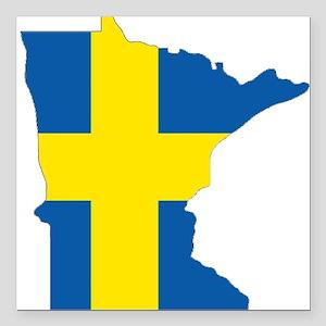 """Swede Home Minnesota Square Car Magnet 3"""" x 3"""""""