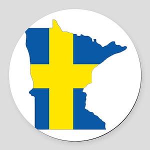 Swede Home Minnesota Round Car Magnet