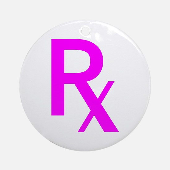 Pink Rx Symbol Ornament (Round)
