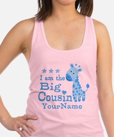 Blue Giraffe Personalized Big Cousin Racerback Tan